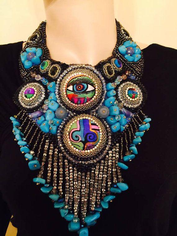 Love  Schiaparelli and Dali unique statement necklace by Diomios