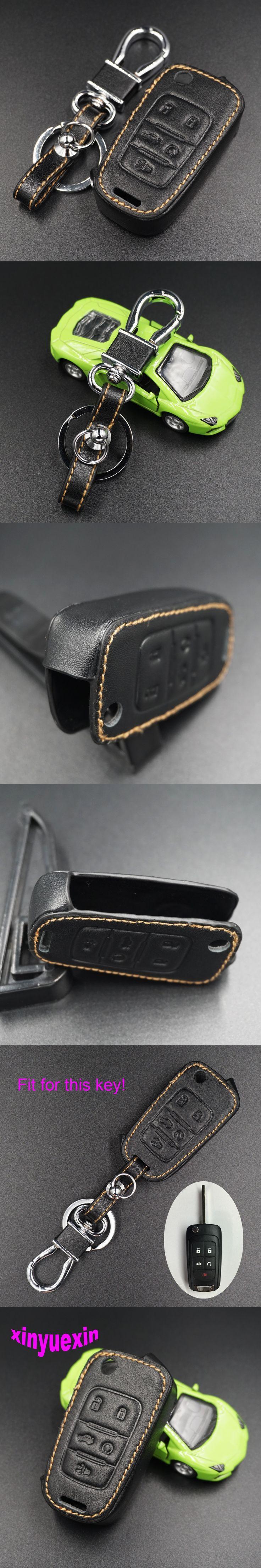 Xinyuexin Leather Car Key Cover Fob Case For Chevrolet Equinox Camaro AVEO Impala GMC Terrain Flip Remote Key Jacket Car-stying