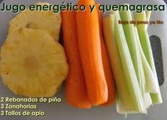 Jugo energetico y quema grasa 100% naturalIngredientes para 1 persona: 2 Rebanadas de piña 3 Zanahorias 3 Tallos de apio