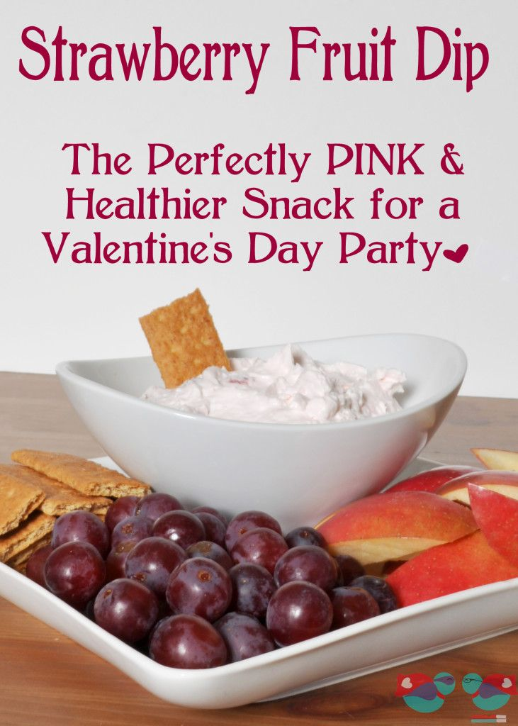 Strawberry Fruit Dip - Perfect as a healthier snack! Plus, with it's pink color, it makes the perfect addition to a Valentine's Day Party as a healthier treat! {From the Love Nerds} #FruitDip #healthy #ValentinesDay