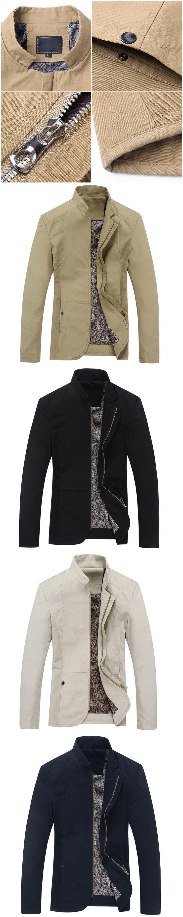 NATAZH Men's Fashion Casual Jacket Brand New Man Spring Mandarin Collar Jacket Autumn Male Outwear Plus Size