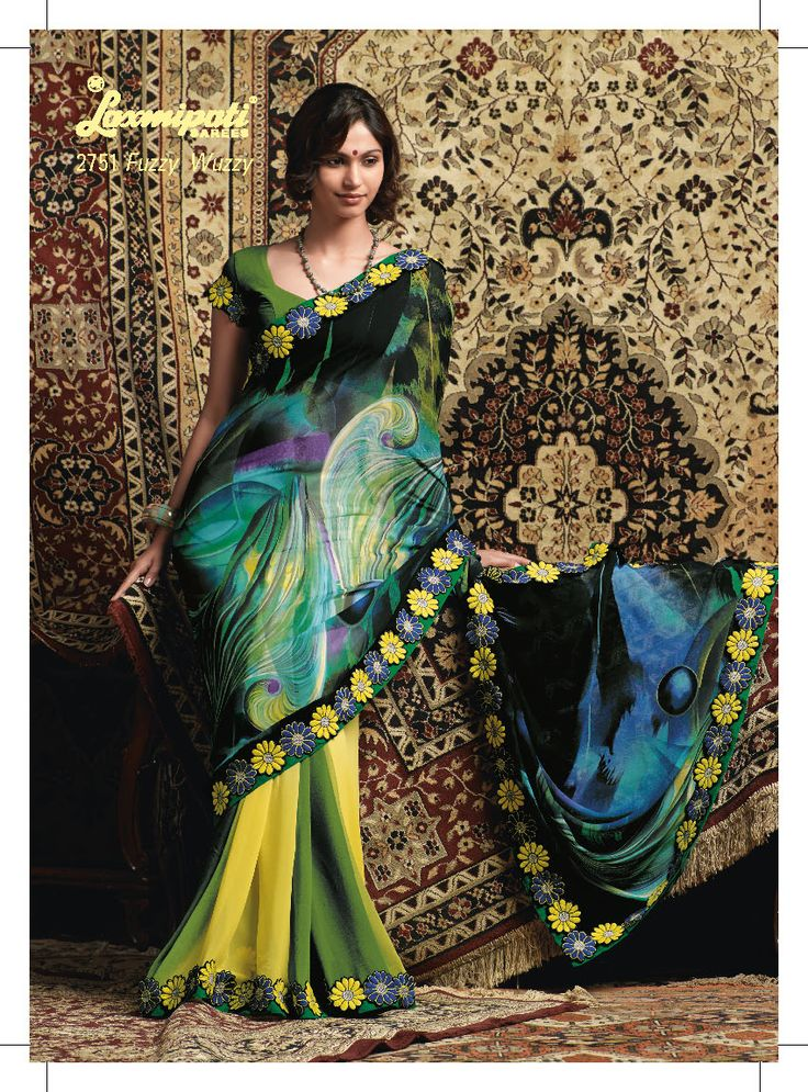 This Yellow,Green & black Georgette material saree with embroidered of flower in border