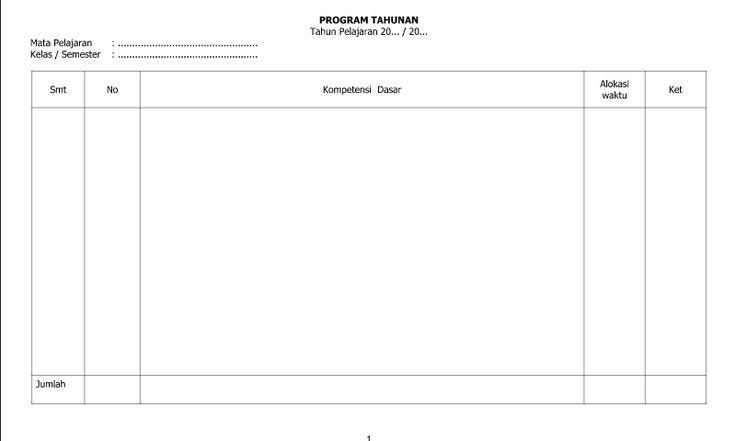 Referensi Contoh Program Tahunan Halaman 1 dalam Pembuatan Administrasi Guru di Sekolah Terlengkap
