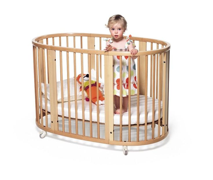 Stokke Sleepi Convertible Crib in Natural –Unique Oval Shaped Scandinavian Baby and Kids Bed
