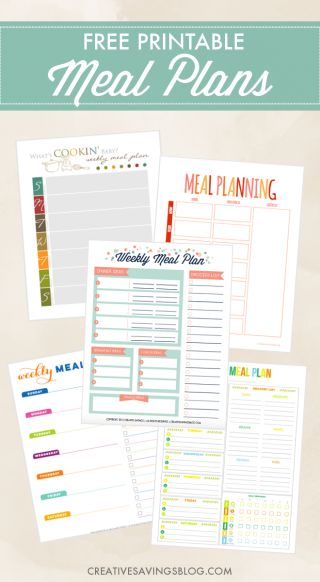 20 best Meal Planning (help/planners/worksheets) images on Pinterest