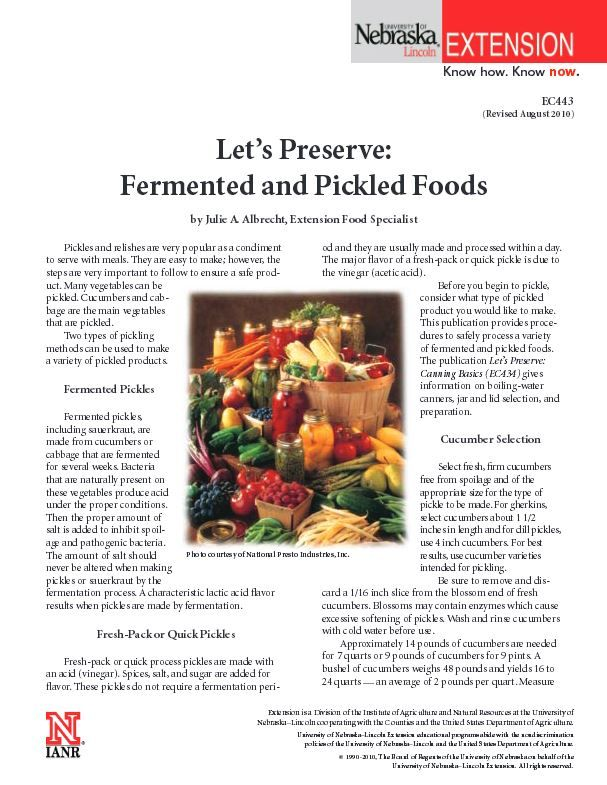Let's Preserve: Fermented and Pickled Foods #NebExt