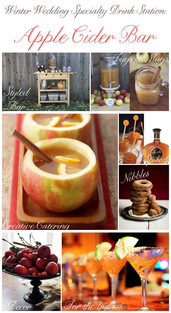 Non alcoholic Cider Bar...perfect for an outdoor fall wedding. I'd love this! Perfect for kids and families.