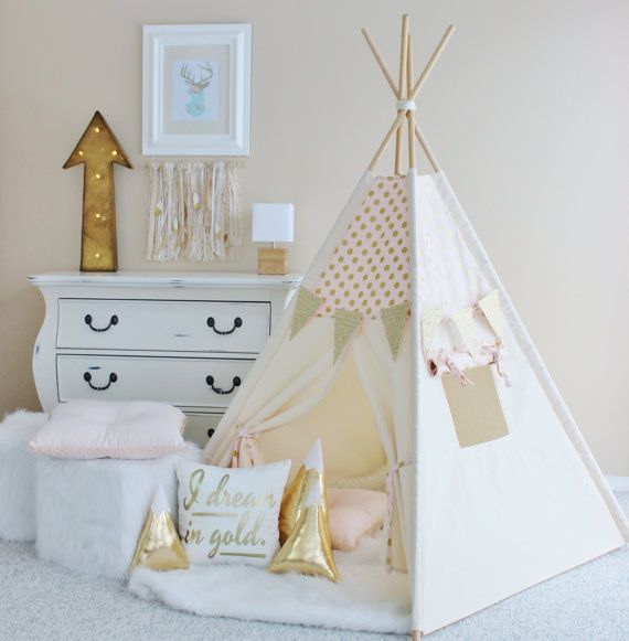 Gold Glamour Polka Dot Play Tent - Canvas, Teepee, Pink, Play Tent, Play House, Nursery, Teepee Tent, Kids Teepee, Wigwam, Indoor