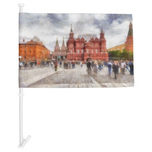 Car Flag. Moscow, Russia. People walk on Manezhnaya Square. View of the State Historical Museum and the Iberian Gate and Chapel near Red Square and Kremlin. Photography. Painting digital imitation. My text is: «Москва Moscow» . You can remove text or add your version. sale, gift ideas, zazzle, discount, gifts, shopping, trendy, stylish, unique artwork, photography, digital processing, cityscape, scenery, people, travel, tourism, europe #painting #digitalprocessing #cityscape #carflag