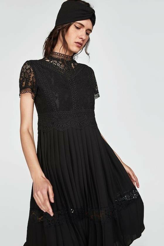c1527166 Details about Zara Women Contrast Lace Dress Black Size M NWOT in ...