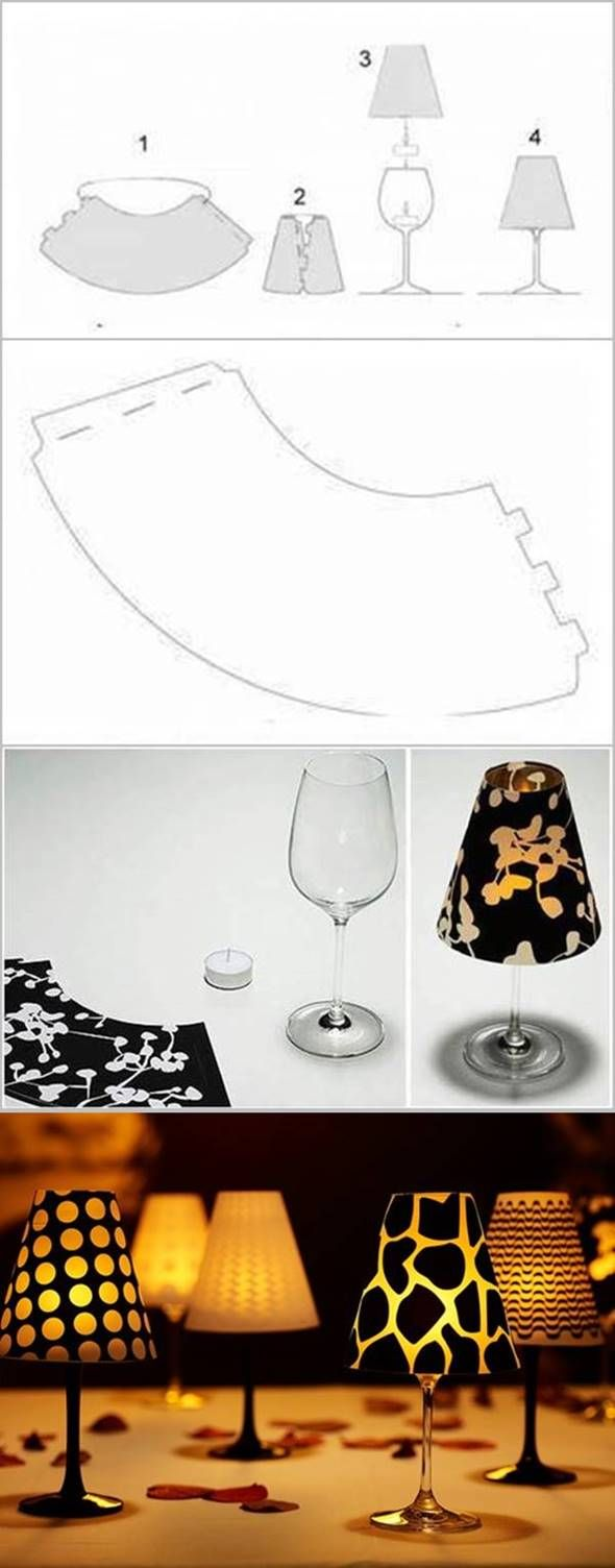 How to DIY Wine Glass Candle Lampshades #craft #decor
