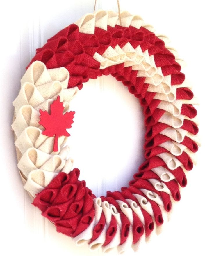 Canada day burlap wreath. Visit my page on FB Wreaths, Garlands n' more