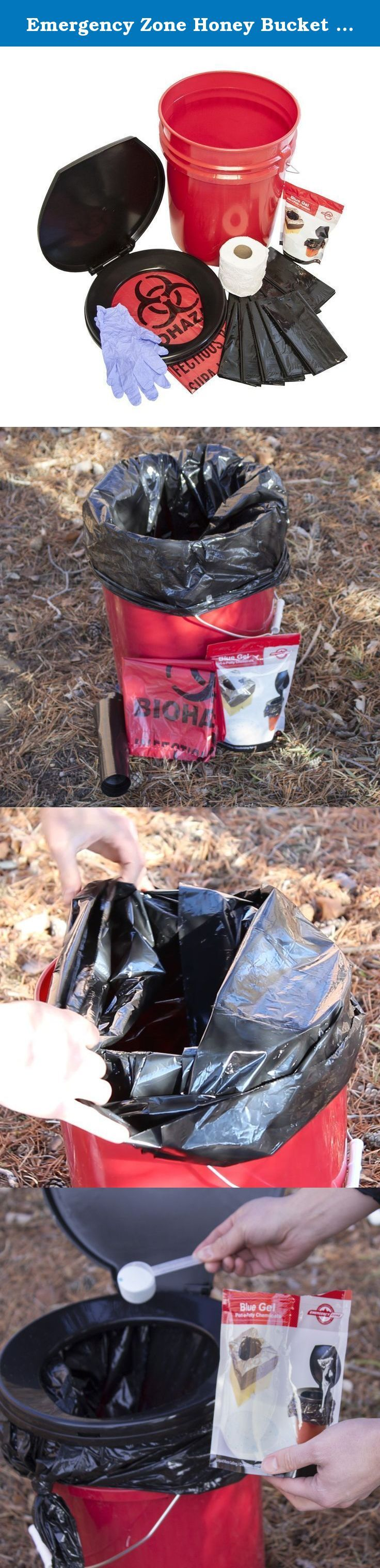 Emergency Zone Honey Bucket Style Toilet Complete Set with Liner and Chemicals. You never know when you will need this. The comlete set includes: 1 removable toilet seat, 1 red 5--Gallon bucket, 1 biohazard bag, 5 toilet liners, 5 toilet chemical packs, 1 roll toilet paper, 2 2oz bottles of hand sanitizer, 1 pair of gloves for sanitary changing of toilet liners.