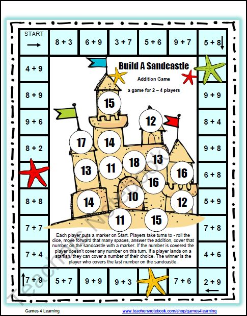 Free Math Games Worksheets- Addition game board. Fun!