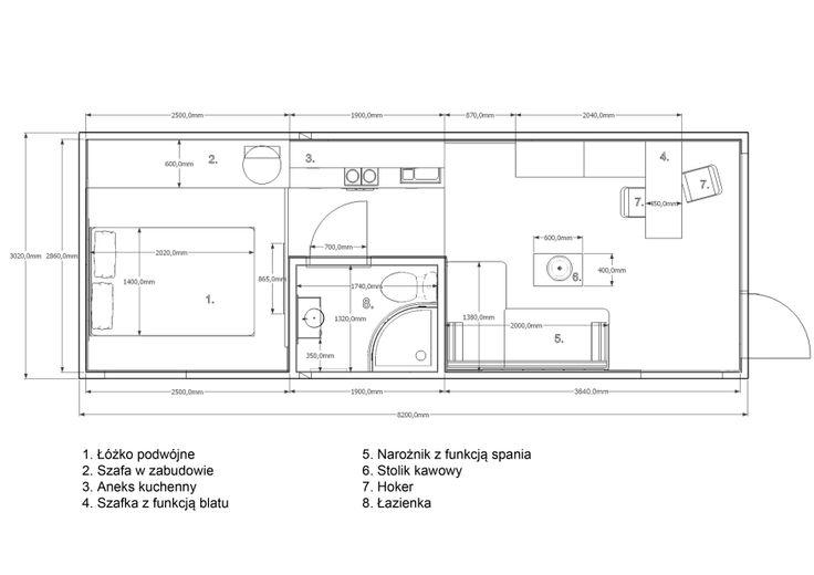 Rzut pomieszczeń mieszkalnych Rubiloft 24 m2
