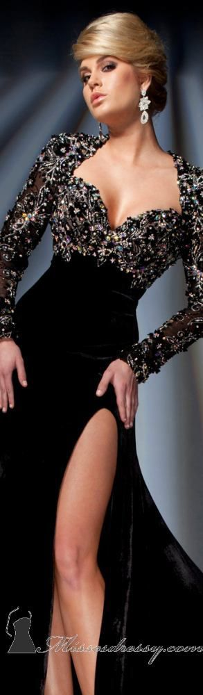 Tony Bowls Collections Black Velvet and Beaded Gown..luv,,very elegant and Sexy..