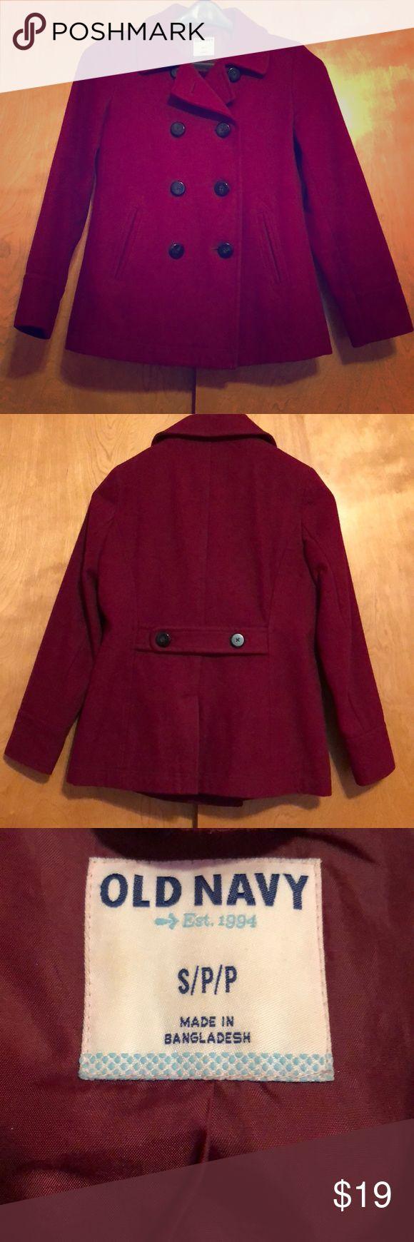 Old Navy Pea Coat Classic pea coat. Deep maroon color. Old Navy Jackets & Coats Pea Coats