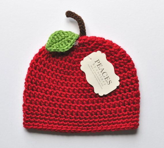 Red Apple Baby Beanie / Baby Hat / Newborn Hat  by Peaces by Cortney www.etsy.com/shop/peacesbycortney