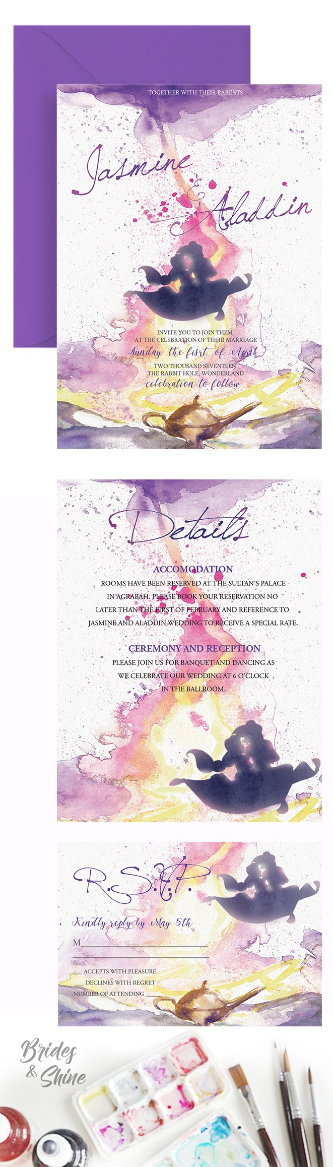 Jasmine Aladdin Watercolor Wedding Invitation- Disney wedding stationary