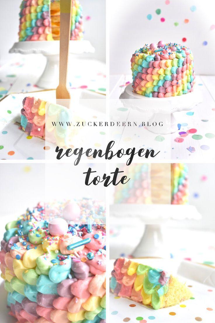 Regenbogen Torte Regenbogentorte Torte Kindergeburtstag Einfach Kinder Geburtstag Torte