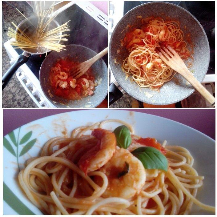 """who said """"no more pasta?!?!?"""" Enjoy gluten free spaghetti &shrimps, &fresh basil :)"""