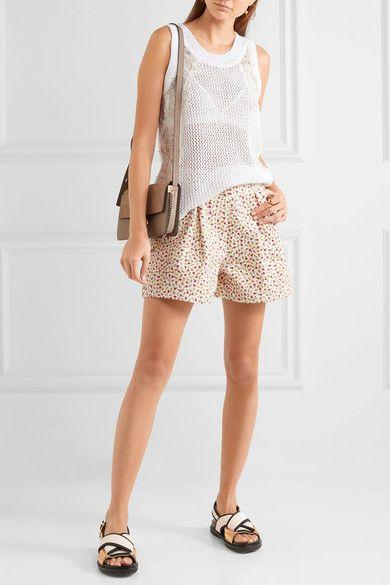 Miu Miu   Pleated floral-print denim shorts   NET-A-PORTER.COM