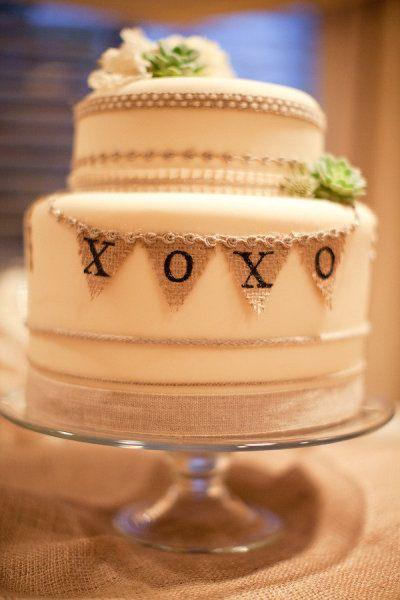 burlap + cake