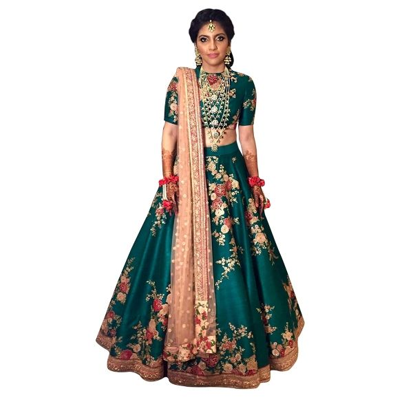 Buy Designer Green Colour Banglori Silk With Embroidery Work Semi-Stitched Lehenga Online at cheap prices from Shopkio.com: India`s best online shoping site