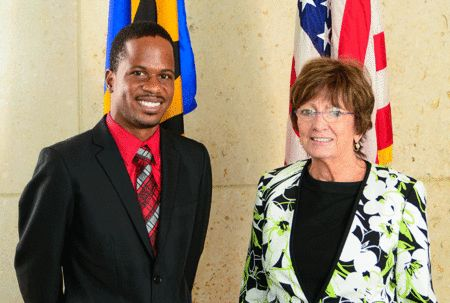 Fulbright Foreign Student Scholarship recipient, Nicholas Fields (left) pictured with US Ambassador Linda Taglialatela before his departure for Yale University.