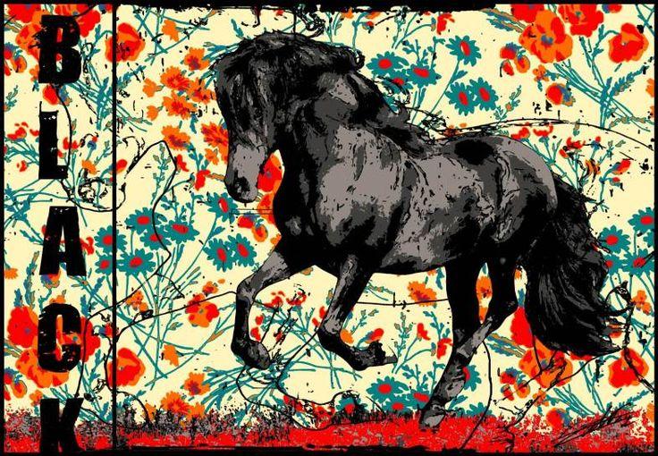 tableau-cheval-noir-galop-champs-peinture
