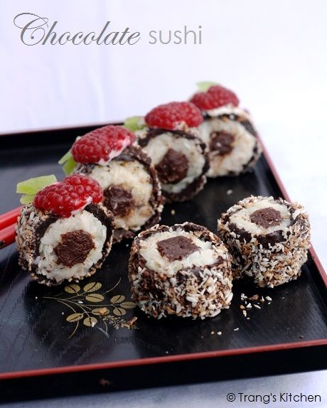 Chocolate, Coconut and Fruit Sushi