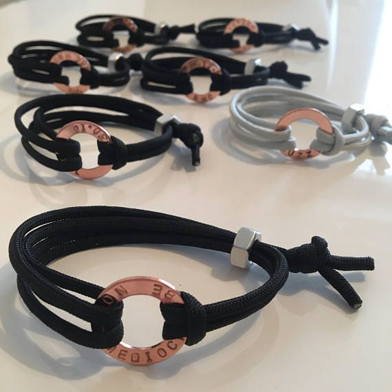 The perfect bracelet for the dapper man in your life.  Highly polished, jewellery grade copper washer can be fully personalised Personalise with names, initials, dates or any words you like up to 18 characters Cord is available in a choice of colours: Khaki, Silver or Black Fully