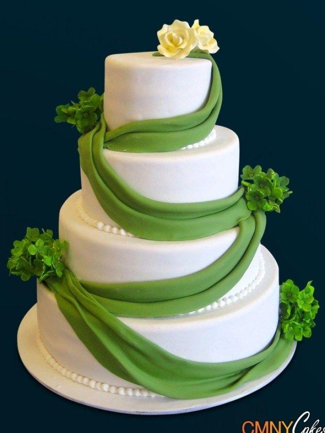 Silver Beads Square Wedding Cake Cmny Cakes Regarding Green And Silver Wedding Cakes