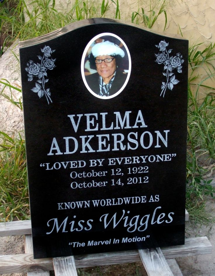 Back Of Memorial For Velma Adkerson Aka Miss Wiggles Of