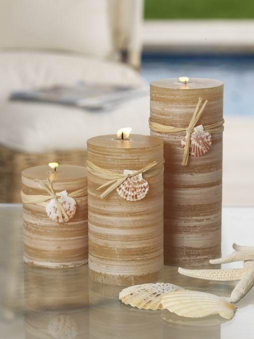 Sand Dune Pillar Candles w/ Shell Trim,