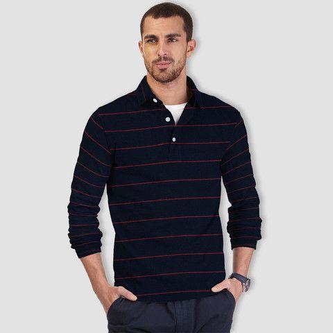 "Men's ""Zara"" Jersy Navy Red Striper Polo Shirt-Navy Striper-639"