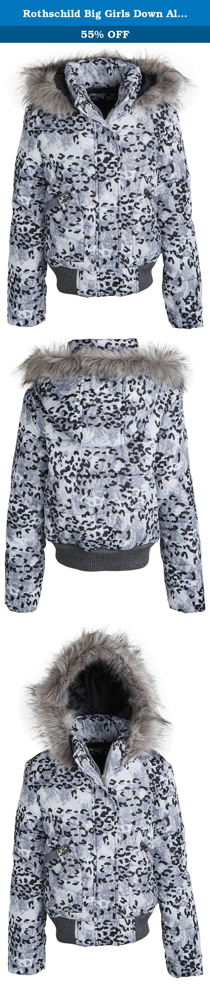 Rothschild Big Girls Down Alternative Hooded Winter Puffer Bubble Jacket Coat - Grey Lace (size 7/8). Bundle up your little angel in this lovely bubble jacket by Rothschild. Snugly fitted ribbed hem trim along with its faux fur trimmed hood and thick filling will definitely help her cope those extreme weathers. All over designer leopard lace print and front patch pockets will surely please moms and daughters taste alike. Available in sizes 7 to 16.
