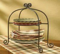 """Brown Burl Village Scroll Plate Stand by Primitive Home Decors. $43.95. Brown Burl Village Scroll Plate Stand 14-1/2"""" Wide x 13"""" High x 8-1/2"""" Deep Priced and sold individually. Plates not included. Designed and manufactured by Park Designs."""