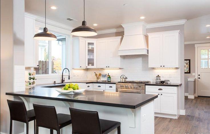 Modern Farmhouse Kitchen White Shaker Cabinets Honed Absolute Black Granite Bianco