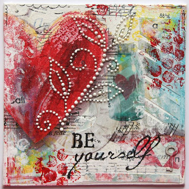 Mixed Media Collage by Tanya Batrak / like the pearl accent on the heart -- PBN + mixed media/altered art