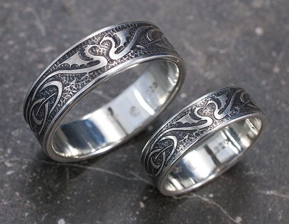 Dragon Wedding Ring Set - Silver Celtic Wedding Bands - Unique Dragon Wedding Rings - His and Hers Wedding Rings with hand etched dragons
