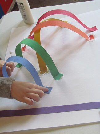 Simple rainbow activity with colored strips.