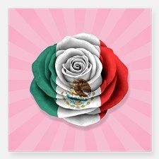 Mexican Rose Flag on Pink Sticker for