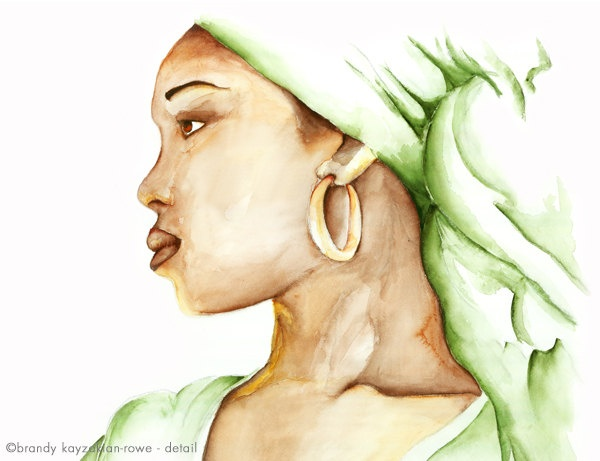 Strength, Courage and Wisdom - India.Arie - watercolor art print - African American woman, musician, singer.  via Etsy.