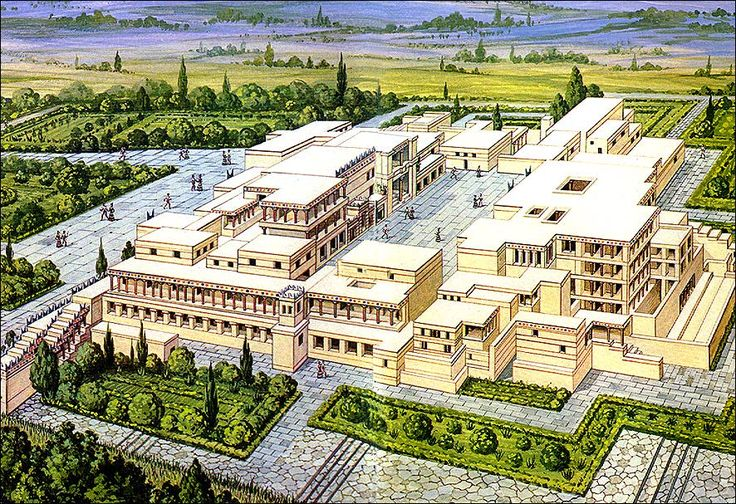 Artist's Rendition of Palace at Knossos, Crete. New Palace Period c. 1700 - 1400 BCE.