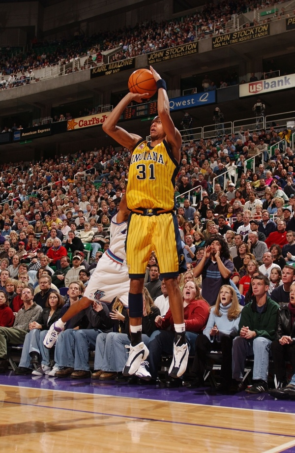 December 1, 2001: Reggie Miller #31 of the Indiana Pacers shoots a Three-pointer late in the game against the Utah Jazz at the Delta Center in Salt Lake City, Utah