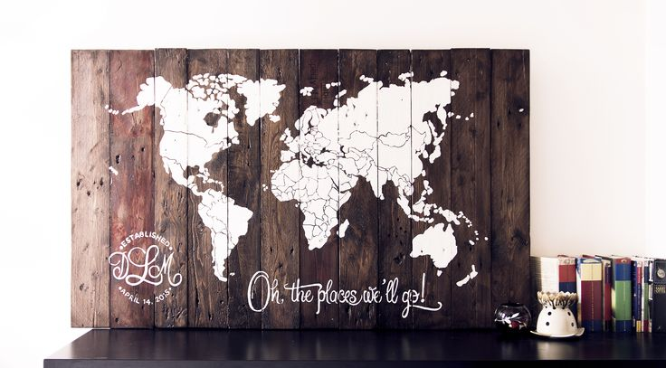 Wall Art - World Map - Reclaimed Pallet Wood - Countries Outline - Custom Logo Line