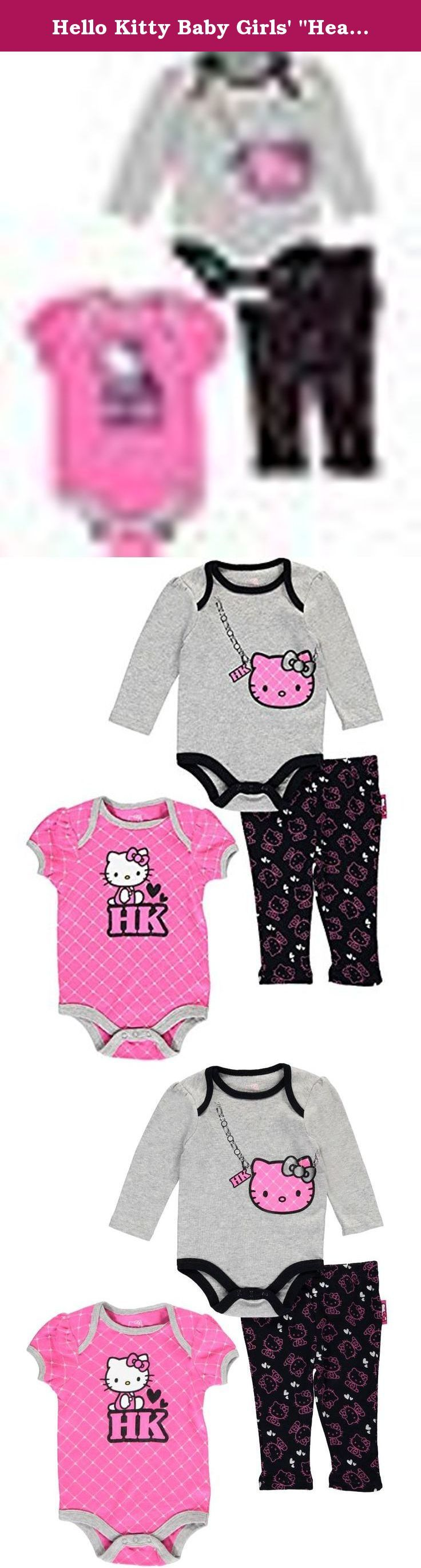"""Hello Kitty Baby Girls' """"Heart Lattice"""" 3-Piece Layette Set - heather gray, 6 -. Give baby the sweet prints and soft comfort of this Hello Kitty 3-piece set! Hello Kitty 3-piece layette set Jersey cotton long-sleeved bodysuit with lap collar, easy-change snaps, and graphic (100% cotton) Jersey cotton short-sleeved bodysuit with lap collar, easy-change snaps, and graphic (100% cotton) Jersey cotton leggings with elastic waistband (100% cotton) Machine wash cold, inside out Imported."""