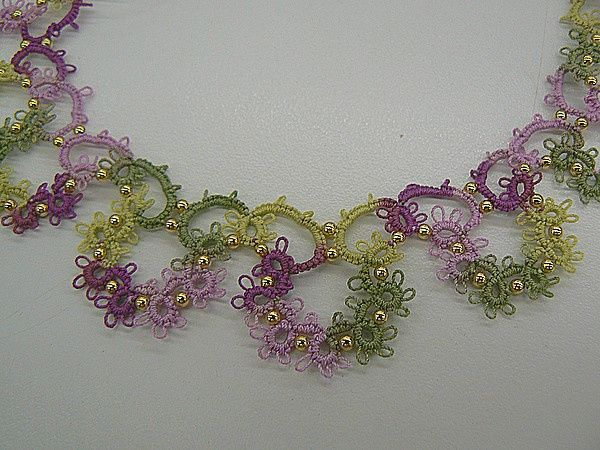 Needle Tatting Instructions | Instructions - Spring Flowers Needle Tatted Necklace.  Note to self: The store linked here offers a lot of supplies for beaded needle tatting. Worth return visits.