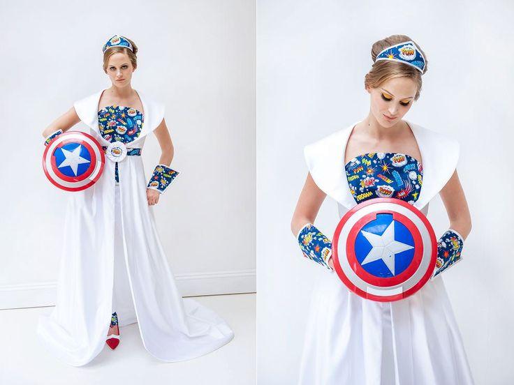Bride with Captain America shield